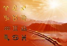 Twelve symbols of the zodiac. Space horoscope stock illustration