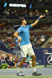 Twelve times Grand Slam champion Novak Djokovic of Serbia in action during his quarterfinal match at US Open 2016 Royalty Free Stock Photos