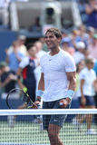 Twelve times Grand Slam champion Rafael Nadal celebrates victory in his third round match at US Open 2013 against Ivan Dodig Royalty Free Stock Photography