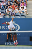 Twelve times Grand Slam champion Rafael Nadal during  first round match at US Open 2013 against Ryan Harrison Stock Photography