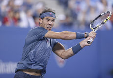Twelve times Grand Slam champion Rafael Nadal during his fourth round match at US Open 2013 against Philipp Kohlschreiber. NEW YORK- SEPTEMBER 2: Twelve times Stock Photography