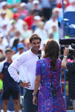 Twelve times Grand Slam champion Rafael Nadal during interview after his win in third round match at US Open 2013 Royalty Free Stock Photo
