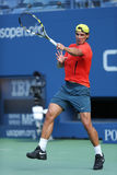 Twelve  times Grand Slam champion Rafael Nadal practices for US Open 2013 at Arthur Ashe Stadium Royalty Free Stock Photography
