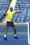 Twelve  times Grand Slam champion Rafael Nadal practices for US Open 2013 at Arthur Ashe Stadium Stock Images