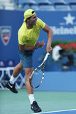 Twelve  times Grand Slam champion Rafael Nadal practices for US Open 2013 at Arthur Ashe Stadium Stock Photos