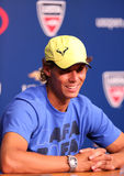 Twelve  times Grand Slam champion Rafael Nadal during press conference at Billie Jean King National Tennis Center Royalty Free Stock Images
