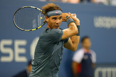 Twelve times Grand Slam champion Rafael Nadal during second round match at US Open 2013 Royalty Free Stock Images