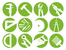 Twelve tools. An illustration of twelve construction tools in green icons on white background Stock Images