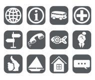 Twelve travel Icons Stock Images