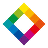 Twelve unique color hues of color wheel, square shape. Twelve unique color hues of the color wheel in square shape showing the relationship between primary Royalty Free Stock Photography