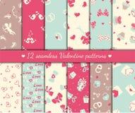 Twelve valentines seamless patterns Royalty Free Stock Photo