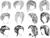 Twelve woman hairstyles isolated on white Royalty Free Stock Image