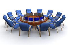 Twelve workplaces behind a round table. Royalty Free Stock Images
