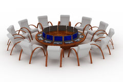 Twelve workplaces behind a round table. 3D image Stock Photo