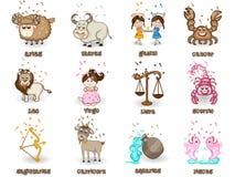 Twelve Zodiac or Horoscope sign concept. Creative funny twelve Zodiac or Horoscope sign on beige background Stock Images