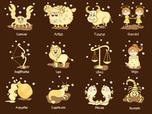 Twelve Zodiac or Horoscope sign concept. Funny twelve Zodiac or Horoscope sign on brown background Royalty Free Stock Image
