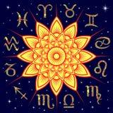 Twelve Zodiac signs around the Sun. Twelve ornate floral Zodiac signs around the yellow Sun on a background dark blue starry sky, vector illustration Royalty Free Stock Photos