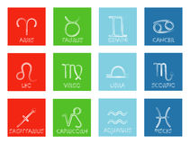 Twelve zodiac signs on colorful background. Vector illustration. Stock Photos