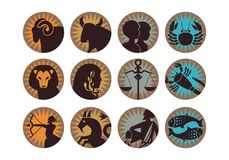 The Twelve Zodiac Signs Stock Photos
