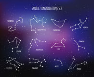 Twelve zodiacal constellations, vector design set Royalty Free Stock Images
