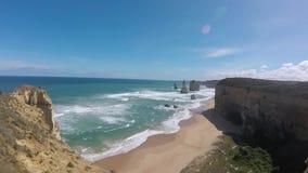 Twelves Apostles, Great Ocean Road, Victoria Australia. Port Cambell, National Park Australia along the great ocean road Natural Rocks, cliffs stock video footage