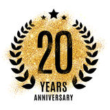 Twenties years gold anniversary. Twenty years gold anniversary symbol. 20th twenties. Golden glitter icon celebration for flyer, poster, banner, web header Royalty Free Stock Photos