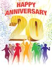 Twentieth anniversary. Colorful crowd of dancing people celebrating twentieth anniversary Royalty Free Stock Photo