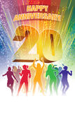 Twentieth anniversary. Colorful crowd of dancing people celebrating twentieth anniversary Royalty Free Stock Photography