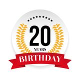 Twentieth birthday badge label. Vector Royalty Free Stock Image