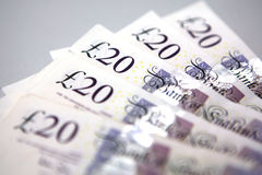 Twenty (20) Pounds Banknotes royalty free stock photos