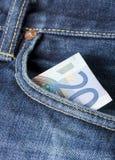Twenty. Euros in a jeans pocket Stock Photography