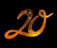 Twenty. 3d. Gold figure Twenty decorated by brilliants. Perfectly will approach for anniversary or birthday. Three-dimensional visualization. 3d vector illustration