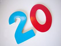 Twenty. Colored numbers stock image
