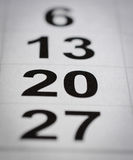 Twenty calendar number stock photography