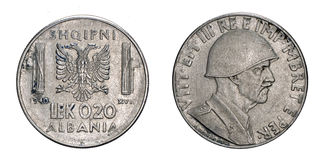Twenty 20 cents LEK Albania Colony acmonital Coin 1940 Vittorio Emanuele III Kingdom of Italy,World war II Royalty Free Stock Images