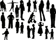 Twenty children  silhouettes Stock Images