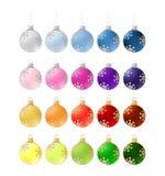 Twenty colorful christmas balls - illustration Royalty Free Stock Photography