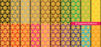 Twenty colorful Japanese patterns Royalty Free Stock Photo