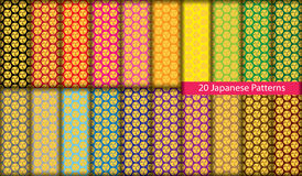Twenty colorful Japanese patterns Stock Photography