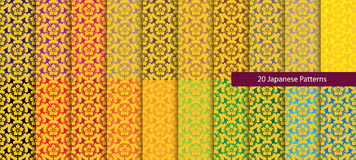 Twenty colorful Japanese patterns Stock Photos
