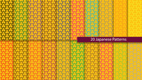 Twenty colorful Japanese patterns Royalty Free Stock Images