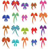 Twenty colour bows Stock Images