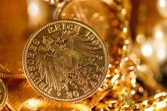 Twenty Deutsch Mark coins. Twenty Deutsch Mark gold coins Royalty Free Stock Images