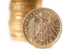 Twenty Deutsch Mark coins. Twenty Deutsch Mark gold coins - Selective focus Royalty Free Stock Photos