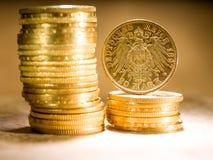 Twenty Deutsch Mark coins. Twenty Deutsch Mark gold coins Royalty Free Stock Photography
