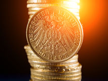 Twenty Deutsch Mark coins. Twenty Deutsch Mark gold coins Stock Photo