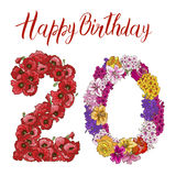 Twenty digit made of different flowers  on white background. Happy birthday inscription. Vector illustration Royalty Free Stock Images