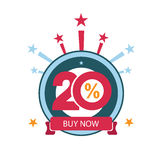 Twenty discount icon. Sales design template. Shopping and low price symbol Stock Photo