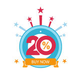 Twenty discount icon. Sales design template. Shopping and low price symbol Royalty Free Stock Photo