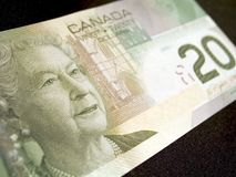 Twenty Dollar Banknote (Canadian). Close-up of a Canadian twenty dollar banknote on a black background Stock Photography